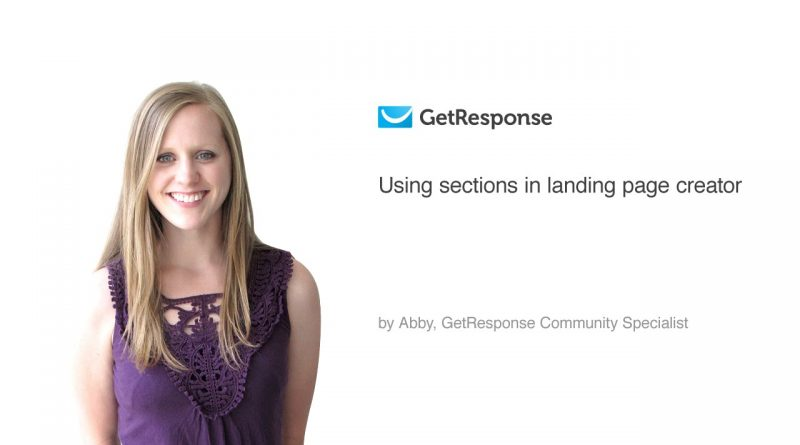 Using sections in landing page creator
